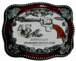 45 Revolver Belt Buckle with display stand. Code MJ3